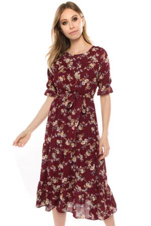 Burgundy Floral Ruched Sleeve Dress